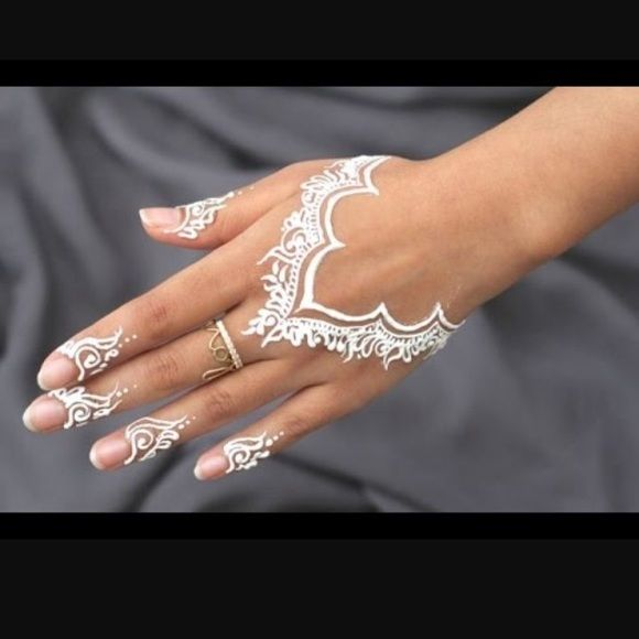 White henna cone White henna design cone. This doesn't work like regular henna, and does not leave a stain on the skin. It only leaves a layer of white on the surface of the skin and will wash off. Looks cute for special occasions. One come will last for several applications. I also sell other types of henna & do bundles Makeup
