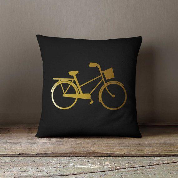 Sofa Pillow, 16x16 Decorative pillow, Bicycle, Home decor, Throw pillow, Pillow cover, Birthday gift idea, Sofa pillow, Gold metalic print