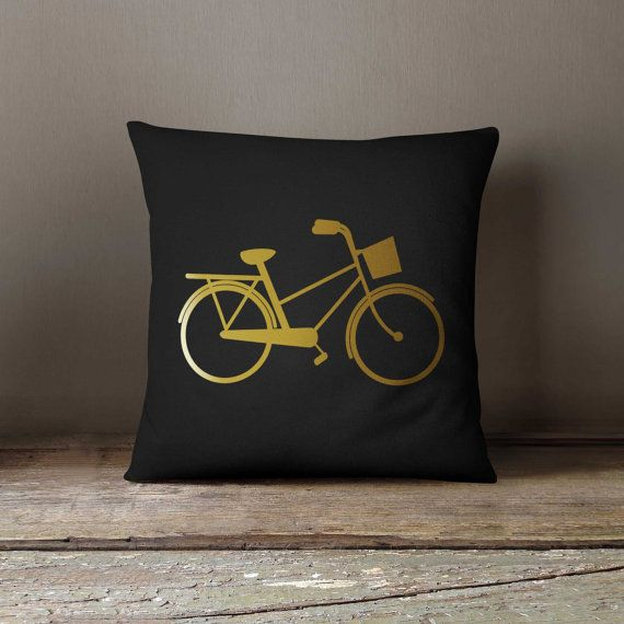 Sofa Pillow, 16x16 Decorative pillow, Bicycle, Home decor, Throw pillow, Pillow cover, Birthday gift idea, Sofa pillow, Gold metalic print