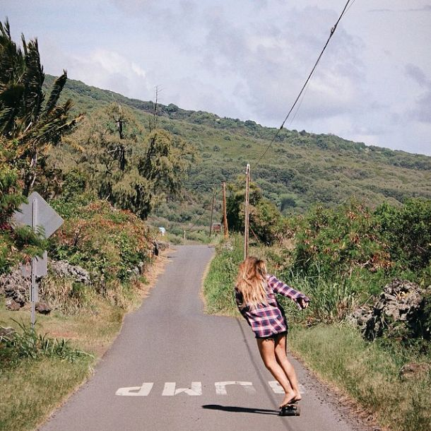 Cruising into the W E E K E N D + + #Repost of @seneccaa skating the back roads of Maui wearing our Explosivo Flannel.  Wear the stone and tag #volcombabes for a chance to be featured!