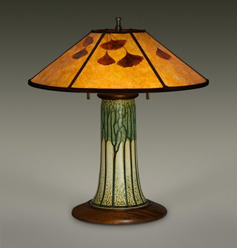 """""""BRIGGS"""" • Arts and Crafts Pottery • 19.5"""" mica lamp shade • ginkgo leaves • The design is 19.5"""" tall • Limited Availability"""