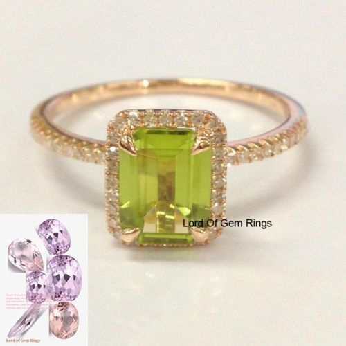 $368 Emerald Cut Peridot Engagement Ring Pave Diamond Wedding 14K Rose Gold 6x8mm