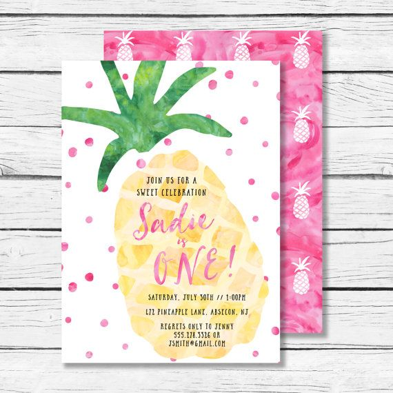 Pineapple Birthday Party Invitation Tropical by littlewilddesign