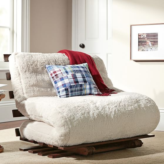 Perfect  Faux Fleece Futon for a reading nook - Potter Barn