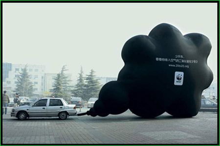 """NGOs have definitely adopted alternative marketing to raise people's awareness of pollution dangers. This time, WWF has come up with a guerrilla campaign that makes you think.The motor of this car is kept running for a whole day. An inflatable balloon is attached to the exhaust pipe.At the end of the day, a huge black cloud is floating in the air, carrying the message: """"Look how much carbon monoxide you'll keep out of the air we breathe by not driving for just one day."""""""