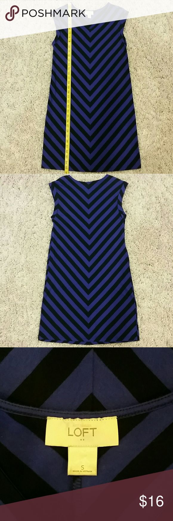 Loft chevron dress Bluish-purple and dark navy chevron patterned dress. In great condition! Stretchy knit. Cute with leggings and long cardigan in the fall/winter, and great with sandals in the summer! LOFT Dresses Mini