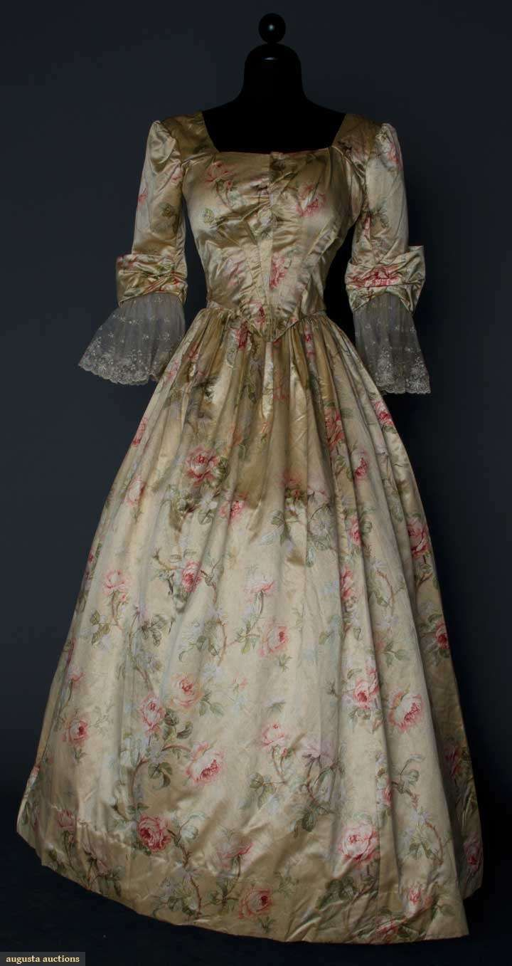 Printed Silk Fancy Dress, Two Piece 18th Century Style, Cream Satin And Rose Print    c.1890