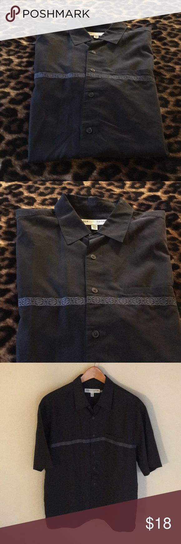 Quicksilver Button Up Shirt! Excellent Condition! Dark Blue Button Up in Excellent Condition! From my hubby's collection!  Great for warm climate & tropical events! Quicksilver Shirts Casual Button Down Shirts