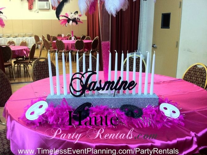 Masquerade centerpieces for sweet pink black and
