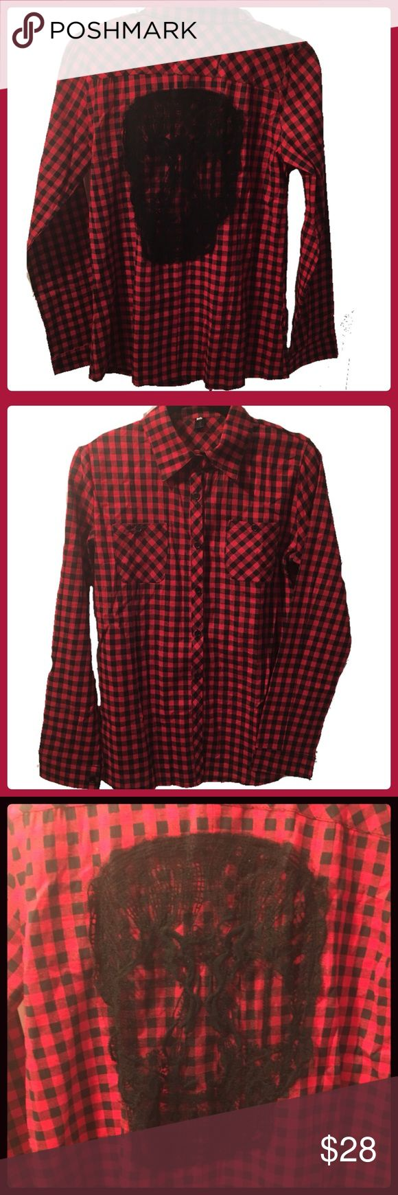 Plaid Lace Skull shirt• Womans• NEW WITHOUT TAGS Funky plaid button down with lace skull embroider on back• Size says XL BUT RUNS MUCH SMALLER! Id say more of a MEDIUM*~ Brand is ShyLand Tops