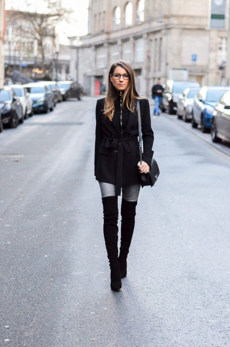 Street style :: over the knee boots , jeans & blazer
