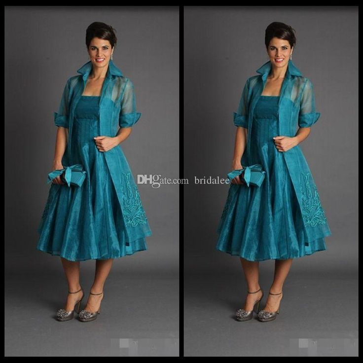 Plus Size 2017 Short Mother of The Bride Jacket Dresses Sleeveless Tea Length Green Suits Evening Gowns Cheap Organza