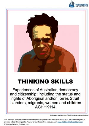 Use critical and creative thinking activities to teach Australian Citizenship and Democracy to your class. One of a series of booklets, which also includes the rights of migrants, children and women.