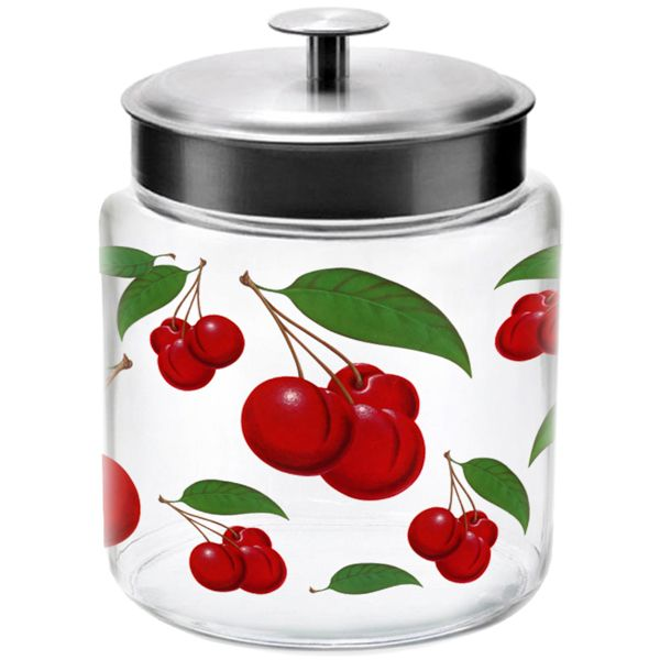 #Cherries 96 oz Glass Jar with Metal Lid