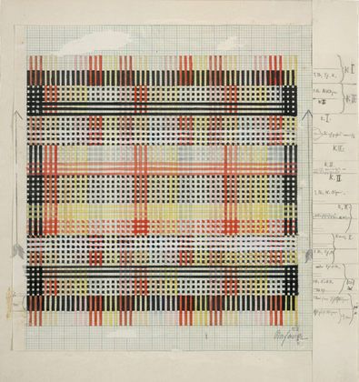 """Design for Tablecloth, Anni Albers (American, born Germany, 1899-1994). 1930. Watercolor and gouache on square-ruled paper, 12 1/8 x 11 3/8""""."""