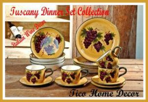 Ceramic Dinner Set: VENETIAN GRAPE CERAMIC COLLECTION 16 PCS DINNER SET. This set is 100% ceramic, although it is microwave safe, the plate will get 2 to 3 times hotter. 4 dinner plates 9 3/4″ 4 Salad, soup Bowls 7 1/2″ 4 saucers 6 3/4″ 4 Mugs/Coffee 3″H / 12″circumference http://theceramicchefknives.com/ceramic-dinner-sets/ Ceramic Dinner Set: VENETIAN GRAPE CERAMIC COLLECTION 16 PCS DINNER SET.