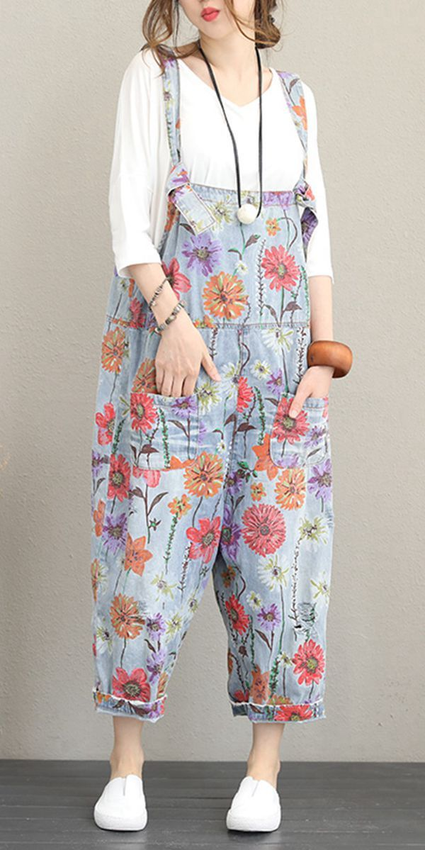 Women Floral Boho Baggy Dungarees Bib Pants Ladies Cotton Linen Gypsy Jumpsuit