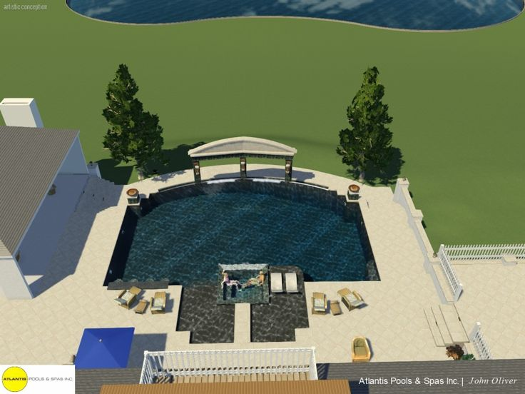 Pergola at side of pool by master bedroom and extending cool deck.  -jsd    Atlantis Pools & Spas
