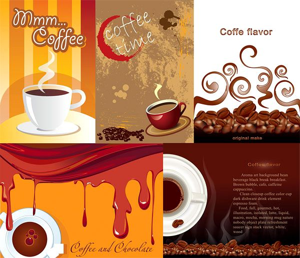 Coffee Theme Poster Vector Material