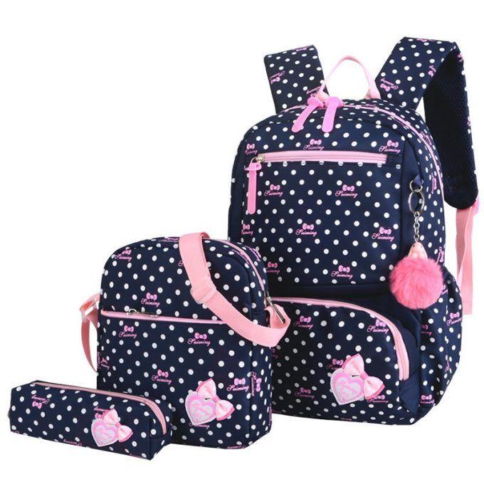 Children Girls School Bags Teenagers Printing Kids Travel Cute Rucksack 3Pcs//Set