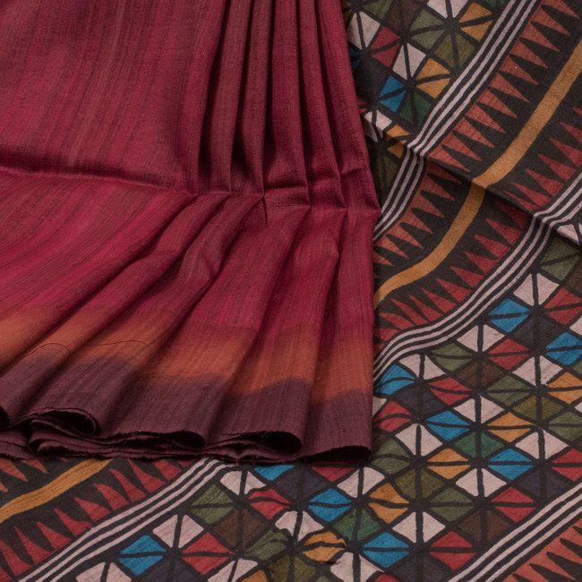 Sujata Maroon Ombre Printed Tussar Silk Saree 10008013 - profile - AVISHYA.COM