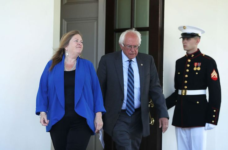 Sen. Bernie Sanders and his wife, Jane, leaving the White House following the Vermont Democrat's meeting with President Obama after Hillary Clinton clinched the party's presidential nomination, June 9, 2016. (Alex Wong/Getty Images)