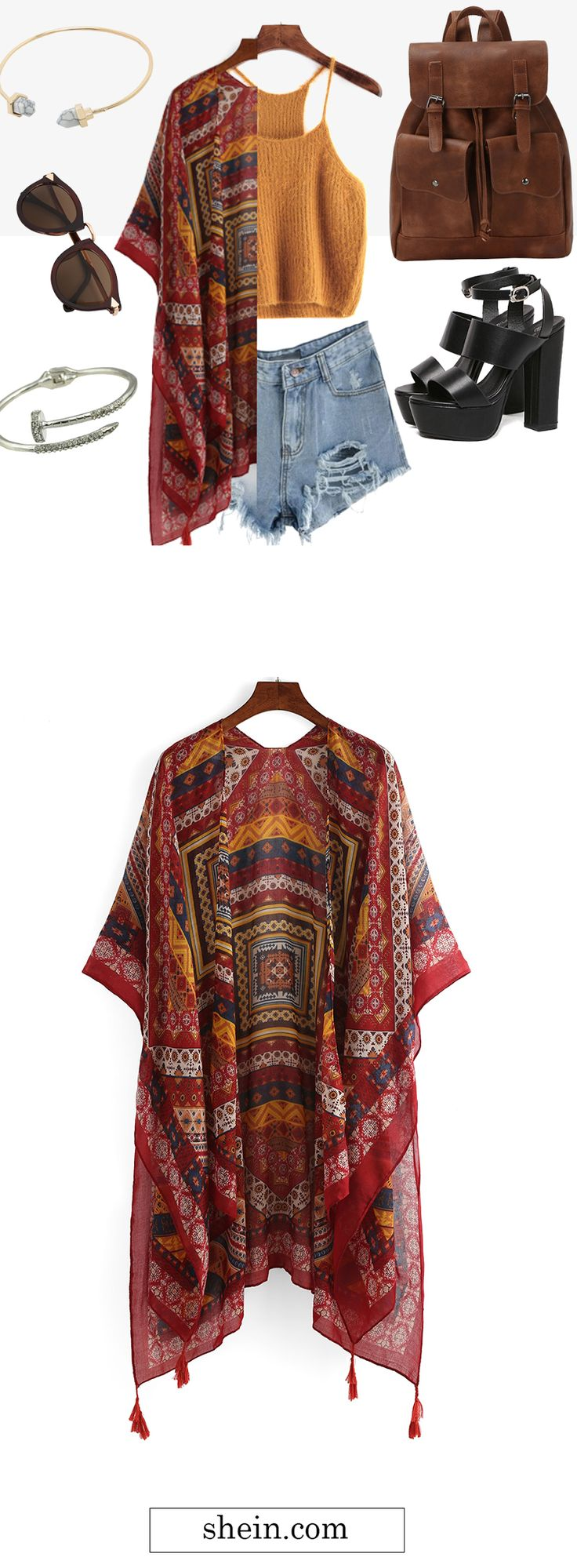 Vintage tribal kimono outfit for fall. My favorite one set!