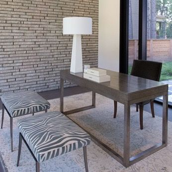 #Marguerite house home office from #BryanInc seen on #HGTVCanada. Furniture from Cocoon: #Colgate desk, #Hunt chair, #Barrows ottomans, #Monolith lamp, #SinchCHatsworth rug