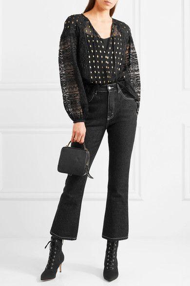 Temperley London - Wondering Lace-paneled Fil Coupé Georgette Blouse - Black
