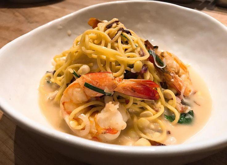 #NewPasta Capellini (seared shrimp crispy pancetta sweet corn fresh herbs parmesan corn brodo)