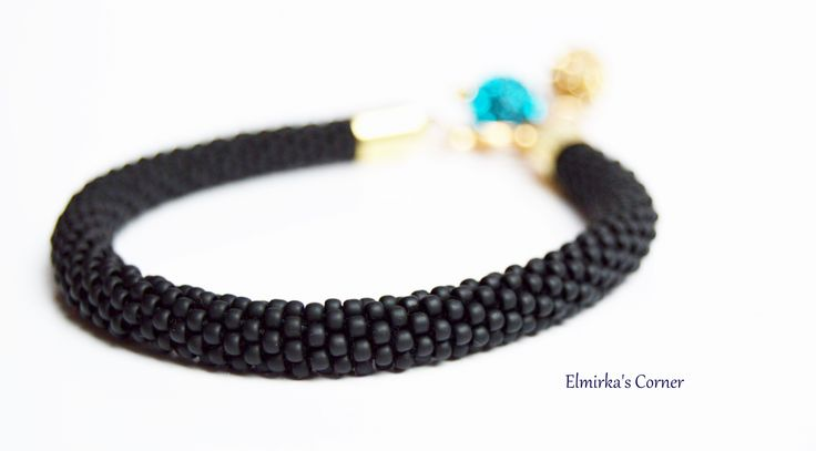 Black matt beads with sparkly shamballa balls handmade bead bracelet see more: https://www.facebook.com/ElmirkasCorner/posts/850533531720734