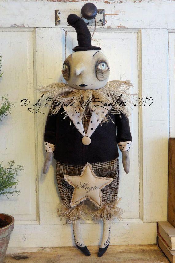EPATTERN Primitive Folk Art Halloween Moon Doll by brendasanker