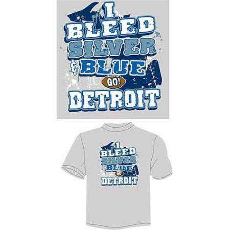 Detroit Football I Bleed Silver and Blue, Go Detroit T-Shirt, Gray, Men's, Size: Large