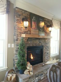 Stacked stone fireplace. This is one of my favorite designs!!!!!!