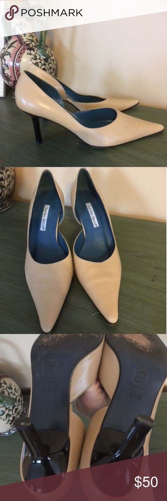 Charles David Vintage Heels Excellent condition.  Cream leather with black shiny heel. Charles David Shoes Heels