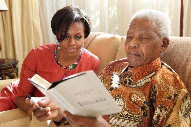Michelle Obama and Nelson Mandela (from USA Today) awesome people hanging out together: Photo