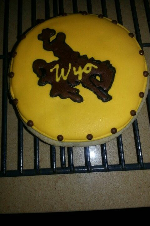 UW University of Wyoming football cake. For any football fan. Check this one out closely. 1/2 sheet cake with extra design around the cake.