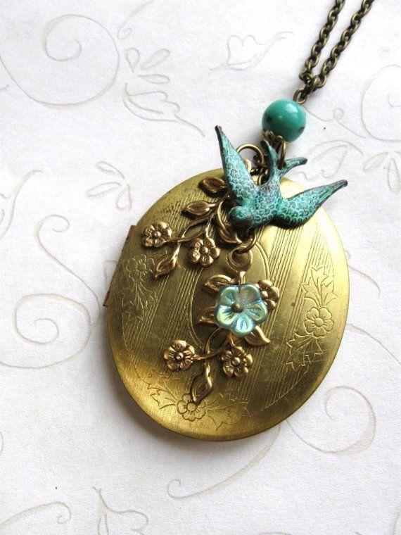 Vintage Locket  long necklace   verdigris bird  by botanicalbird, $42.00