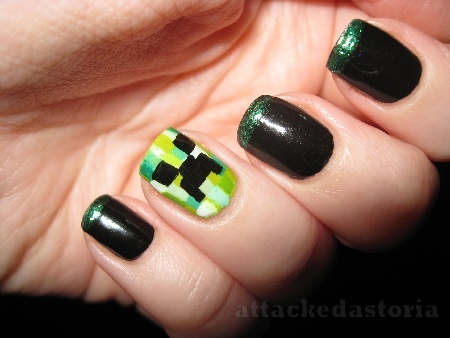 Creeper fingernail? Minecraft. The boy would love this!