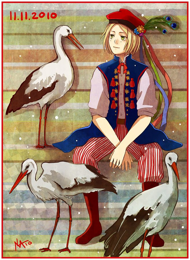 "APH The Coming Day Tomorrow by Radittz.deviantart.com on @deviantART - From the artist's comments: ""Every year I'm making a Poland Hetalia fanart for the Independance Day, it's like a challenge XD This year it's something connected with folk(uncompleted Cracow regional outfit) and our second national bird - a stork XD; I just wanted to make something bright, colorful and without any war stuff..."""