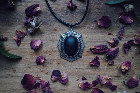 Black Onyx Gothic Choker - Onyx Pendant - Black Onyx Necklace - Goth Jewelry #Kruelintentions
