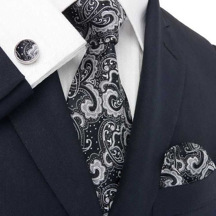 Black Silver Paisley Wedding Tie Set JPM31E | Wedding ties ...