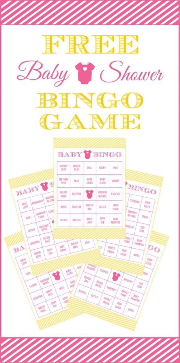 Free Pink and Yellow Baby Shower Bingo Printable Cards for a Girl Baby Shower | CatchMyParty.com: