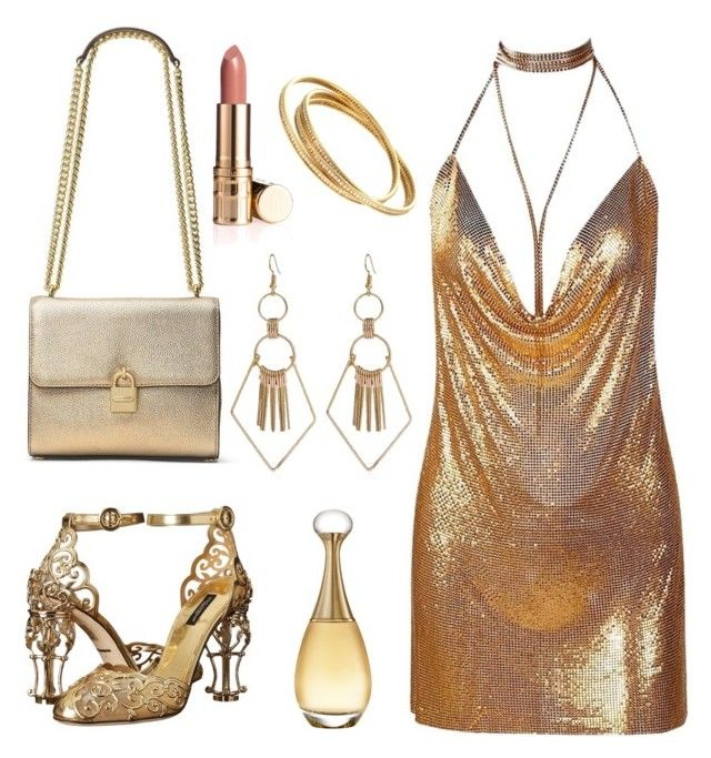 """""""Gold night party outfit"""" by hielyaamelia on Polyvore featuring Dolce&Gabbana and Christian Dior"""