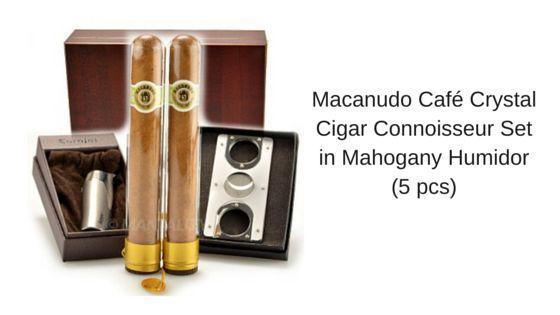 Macanudo Café Crystal Cigar Connoisseur Set in Mahogany Humidor (5 pcs)