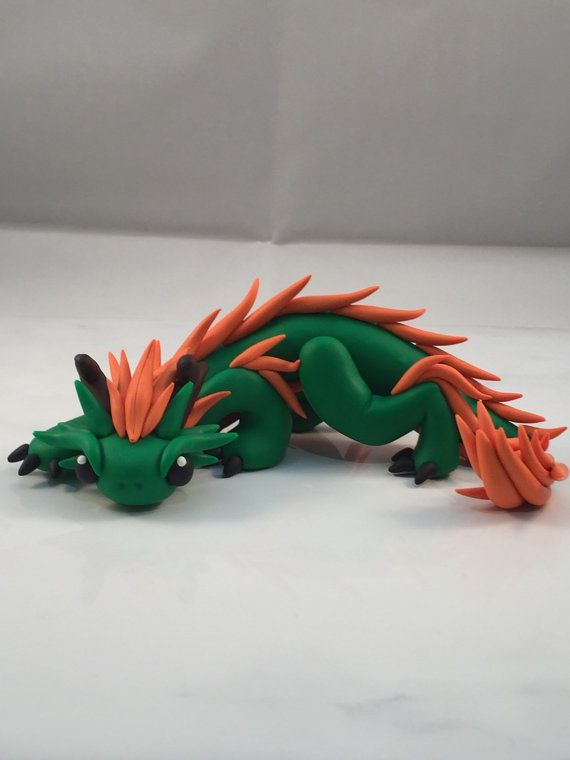Polymer clay dragon asian dragon oriental by KiwikoiOriginals