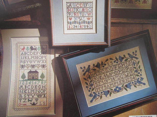 See Sally Sew-Patterns For Less - Old Samplers Bluebirds Antique House