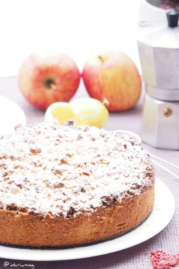 Veganer Apfel Vanille Kuchen Mit Marzipan Streuseln Schnell Und