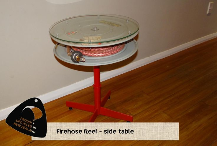 Sweet looking Fire Hose Reel side table Solid Industries, Royal Art furniture, upcycle