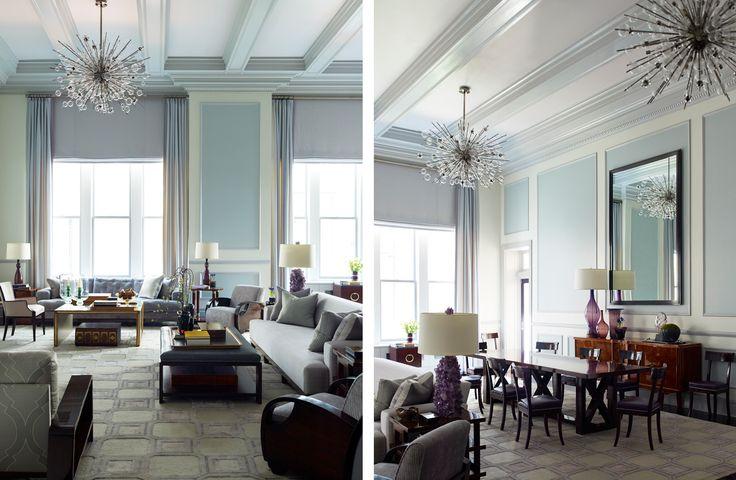 "by Steven Gambrel His words: ""The scale of this apartment required a graphic decorating scheme to help soften the scale of a former ballroom. Now the space reads as warm and familiar residence, complete with a collection of 20th century antiques and custom furnishings."""